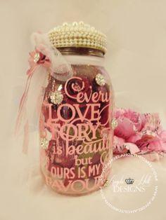 Valentine Etched Glass Mason Jar