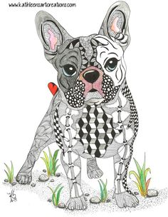 "Zentangle French Bulldog named ""Frenchie"". Completed 6-25-14.  A 12-pack of note cards are available for $23.00 with FREE shipping and handling.  Prints also available."