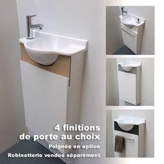Découvrez notre modèle Solo composé d'un lavabo blanc brillant et d'un meuble compact blanc. Sur ce modèle, le robinet peut être placé à gauche ou à droite avec ou sans distributeur de savon encastré ! Solid Surface, Lave Main Design, Wc Compact, Toilet Paper, Gauche, Home Decor, Trough Sink, Towel Rail, Door Handle