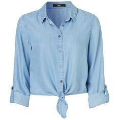 DENIM TIE HEM LONG SLEEVE SHIRT ($58) ❤ liked on Polyvore featuring tops, lightweight denim shirt, layered tops, blue shirt, long tops and tie shirt