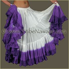 Gorgeous 25 yard white and purple dip dyed skirt from Tribe Nawaar