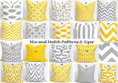 Gray.Yellow Pillows.ALL SIZES.Decorator Pillow Cushions.Printed Fabric Front and Back.Cushions.Home Decor.Large.Small Pillows