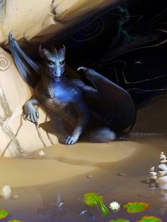 Blue Dragon in cave by ~Ales-fera on deviantART