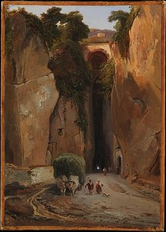 Entrance to the Grotto of Posillipo,  Charles Rémond - 1822-42 / The Grotto of Posillipo is actually a nearly half-mile-long tunnel that was cut through the rocky promontory separating Naples from the town of Posillipo in the first century. It became an icon of the Grand Tour in the eighteenth century. This sketch may have been painted as early as Rémond's first visit to Naples, in 1822.