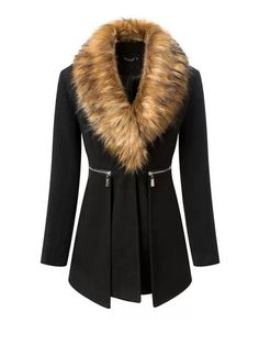 Stylish Western Style Removable Faux Fur Collar Coat For Women