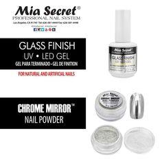 Mia Secret Chrome Mirror Nail Powder + Glass Finish UV LED Gel