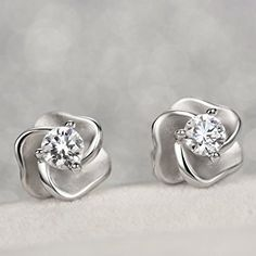 Carleen Sterling Silver Cubic Zirconia Rose Stud Earrings For Women: Clothing Pearl And Diamond Earrings, Diamond Jewelry, Stud Earrings, Ear Jewelry, Bridal Jewelry, Fancy Jewellery, Gold Earrings Designs, Delicate Jewelry, Beautiful Earrings