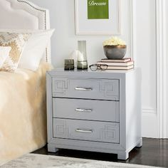 Safavieh Furniture - A fabulous display of modern sophistication, this Raina Three Drawer Nightstand exudes chic couture style. Raina's classic Greek key pattern is paired Decor, Furniture, Interior, Three Drawer Nightstand, Drawer Nightstand, Bedroom Furniture, Safavieh, White Side Tables, Bed Bath And Beyond