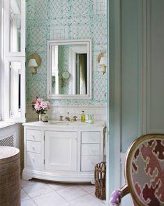 girl's bathroom with Lyford trellis wallpaper // Tom Scheerer Decorates #bathroom #wallpaper #designer