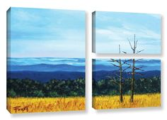Serene Mountain Tops by Gene Foust 3 Piece Painting Print on Wrapped Canvas Set