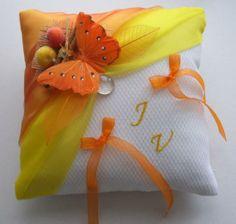 coussin alliances papillon, orange, jaune