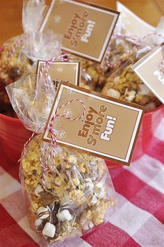 S'more Caramel Popcorn.  I would bake my caramel corn first to get it nice and crunchy. I do not like gooey caramel corn.