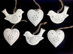 Set of 6 White Metal Birds Hearts Christmas Decorations Baubles Shabby Chic