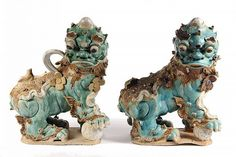 """PR CHINESE ROOF TILE FINIALS - Ming Dynasty Ceramic Guardian Foo Dogs in tri-color glazes, predominately aqua, both facing right. 17 1/2"""" t x 14"""" x 8"""". Portions gone, multiple chips, drops of cement. Scarce in any condition as a pair."""