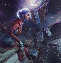 ArtStation - Arrival, by Magdalena Radziej Cyberpunk Character, Cyberpunk Art, Character Inspiration, Character Art, Character Design, Space Opera, Futuristic Art, Sci Fi Characters, Afro Art