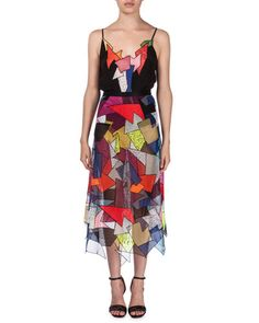 -6DGH Christopher Kane  Sleeveless Mixed-Lace V-Neck Cami, Black Patchwork Lace Midi Skirt, Multi