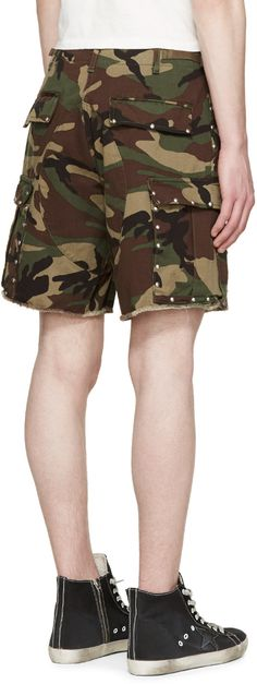Saint Laurent Green & Brown Studded Camouflage Shorts