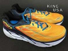 Men's Hoka One One Clifton 3 Running Athletic Shoes Blue Gold Fusion Size 10