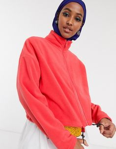 Factorie cropped zip through fleece in red White Balloons, Funnel Neck, Latest Trends, Asos, Zip, Clothes For Women, Sweaters, Jackets, Shopping