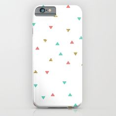 Mint Coral Gold Glitter Triangle Scatter iPhone & iPod Case