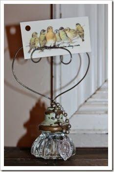 Vintage glass door knob card/note holder.