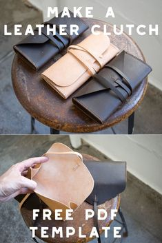 Make a simple gusseted leather clutch wallet with our FREE PDF template set! Nee… Make a simple gusseted leather clutch wallet with our FREE PDF template set! Need help putting it together? Check out the full build along video tutorial… Continue Reading → Leather Bag Tutorial, Leather Bag Pattern, Sewing Leather, Leather Tooling, Leather Purses, Diy Leather Clutch, Leather Wallets, Diy Clutch, Leather Totes