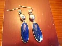 Wow: Sterling Silver and Genuine Faceted Bezel-Set Sapphire Blue LAPIS & Swarovski Crystal Artisan Dangle/Drop Pierced Earrings by theunitgal. Explore more products on http://theunitgal.etsy.com