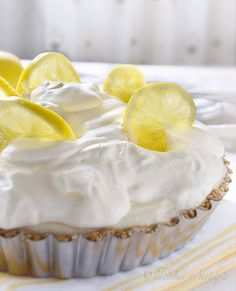 Lemon Icebox Pie - no bake, eggless and lower-in-fat. Perfectly creamy! - by kitchennostalgia.com