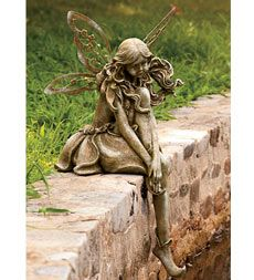 "Thoughtful Fairy Statue - Made of sturdy resin with metal wings - 30""H x 14""L x 14""W"