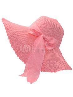 Rosa prua Chic cappelli di paglia per le donne - Milanoo.com Vestiti Per Le 4176bbd4c260