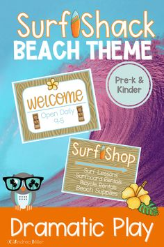 The beach dramatic play Surf Shop is open for surfboard rentals, bike rentals, and all your beach necessities. This summer theme dramatic play set will have your little learners beach shopping, registering for surf lessons, and more in the dramatic play center. Preschool, pre-k, and kindergarten children will love using their imaginations to visit the Surf Shack. The Surf Shop is a perfect addition to a beach theme, ocean theme or summer theme. Beach Theme Preschool, Preschool Themes, Literacy Activities, Summer Activities, Ocean Themes, Beach Themes, Dramatic Play Centers, Inspired Learning, Surf Shack