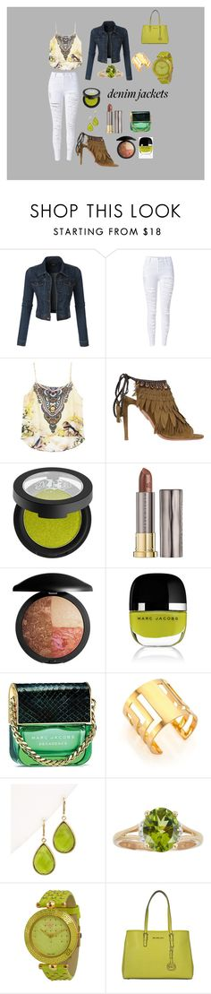 """Denim Greenery"" by santhuri24 ❤ liked on Polyvore featuring LE3NO, WithChic, Aquazzura, Kat Von D, Urban Decay, Marc Jacobs, TomTom, Rivka Friedman, Versace and Michael Kors"