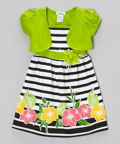 Look what I found on #zulily! Lime & Black Stripe Hibiscus Dress & Shrug - Infant, Toddler & Girls by Littoe Potatoes #zulilyfinds