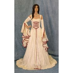 Renaissance Dress Medieval Wedding Dress Handfasting Dress Elven Dress ($298) ❤ liked on Polyvore featuring dresses and medieval