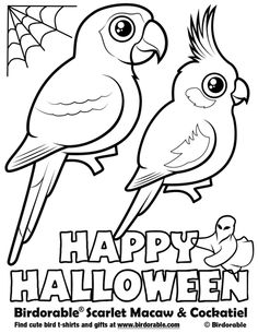 halloween coloring page with birdorable scarlet macaw cockatiel