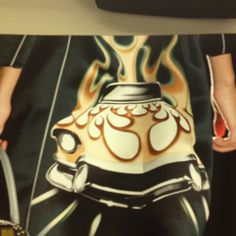 Prada- runway coat with car/flame