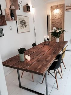 Billedresultat for plankebord Dining Room Table, Dining Area, Home Interior Design, Interior Decorating, Rustic Interiors, House Rooms, Apartment Living, Home Decor Inspiration, Diy Home Decor