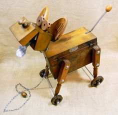 WOODY - robot dog pull toy assemblage sculpture - Reclaim2Fame | by Reclaim2Fame