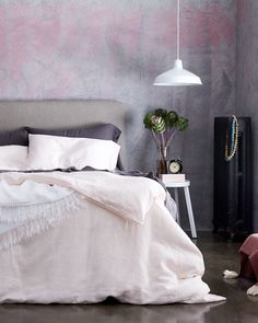 Can't get over how gorgeous this blush linen Matteo bedding is!