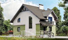 120-003-П Проект двухэтажного дома, компактный дом из газобетона