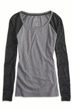 AEO Factory Baseball T-Shirt, Women's, Size: 2XL, Grey
