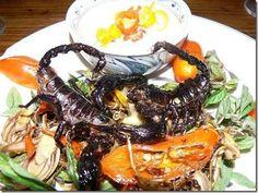 Escorpiões fritos: Prato famoso na China, estes escorpiões são vendidos fritos e são conhecidos como quebradiços. Existem registros de casos de pessoas sofrendo reações alérgicas por comerem partes venenosas do escorpião.