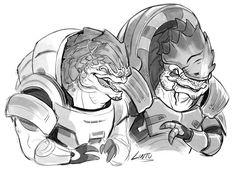 art doodle mass effect Grunt Wrex laughing at a Turian joke..