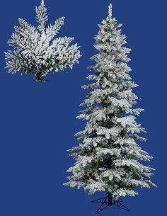 6.5' Pre-Lit Snow Flocked Layered Utica Slim Christmas Tree - Multi LED Lights