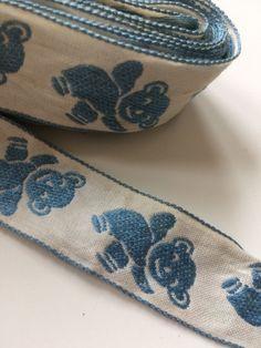 Vintage Teddy Bear Blue Ribbons Trim Trims Dolls Doll Costume Art 1 Yards