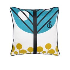 Apple printed silk cushion in teal and yellow by Ferm Living Sitting Room Decor, Apple Prints, Floor Cushions, Soft Furnishings, Interior And Exterior, Pattern Design, Teal, Throw Pillows, Printed Silk