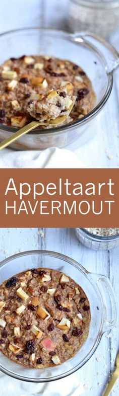 Appeltaart Havermout Uit De Oven Healthy Snacks, Healthy Recipes, Mindful Eating, Easy Cooking, Foodies, Cereal, Oatmeal, Food And Drink, Vegan
