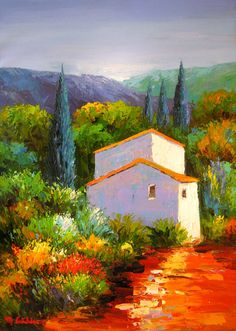 Little House On The Hillside ~ Amazing How Such A Simple Little Dwelling Can Stand Out Because Of It's Vibrant Colours! ~ pittura paesaggi - Cerca con Google