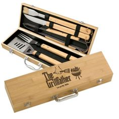 Grillfather Personalized Five Piece Bamboo BBQ Set. How much? Click on image to find out.