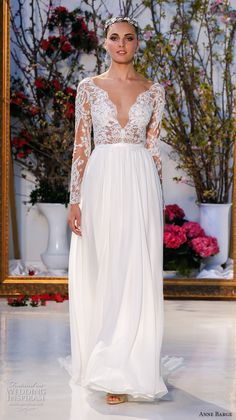 Wedding dress from the Anne Barge Spring 2017 collection. Image by Dan Lecca, courtesy of Anne Barge. Anne Barge Wedding Dresses, Spring 2017 Wedding Dresses, Long Wedding Dresses, Wedding Gowns, Lace Wedding, Spring Wedding, Wedding Blog, Wedding Dress Sleeves, Long Sleeve Wedding
